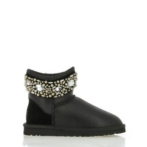 UGG Jimmy Choo Rhinestones Black Leather
