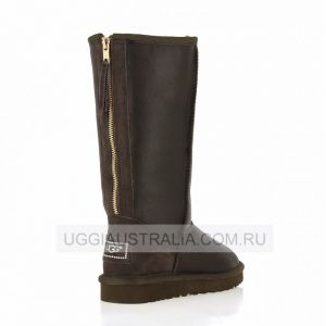 Ugg Womens Tall Zip Metallic Chocolate