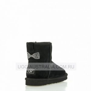 UGG Women's Classic Mini Crystal Bow Black