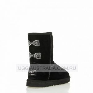 UGG Women's Classic Short Crystal Bow Black