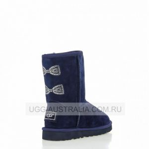 UGG Women's Classic Short Crystal Bow Navy