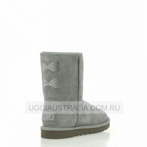 UGG Women's Classic Short Crystal Bow Grey