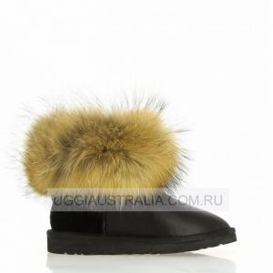 UGG Mini Fox Fur Metallic Black