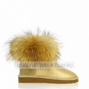 UGG Mini Fox Fur Soft Gold