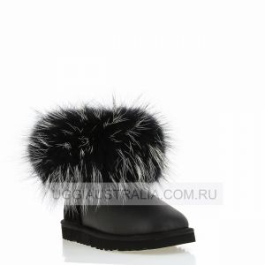 UGG Mini Fox Fur Black/White Metallic