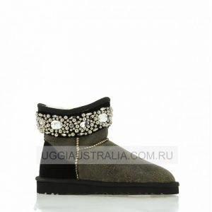 UGG Jimmy Choo Jeweled Bomber Black