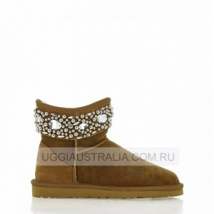 UGG Jimmy Choo Jeweled Bomber Chestnut