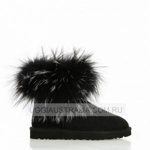 UGG Mini Fox Fur Black/White