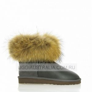 UGG Mini Fox Fur Grey Metallic