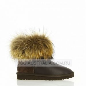 UGG Mini Fox Fur Chocolate Metallic